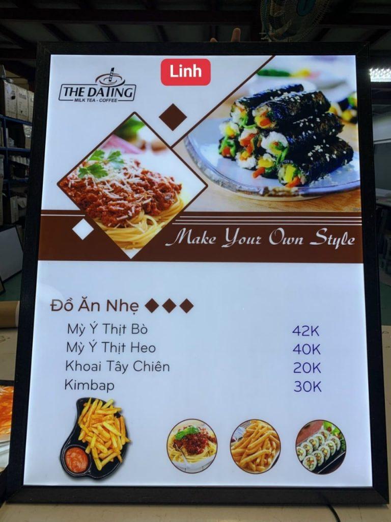 hộp đèn quảng cáo dành cho quán đồ ăn ngoại