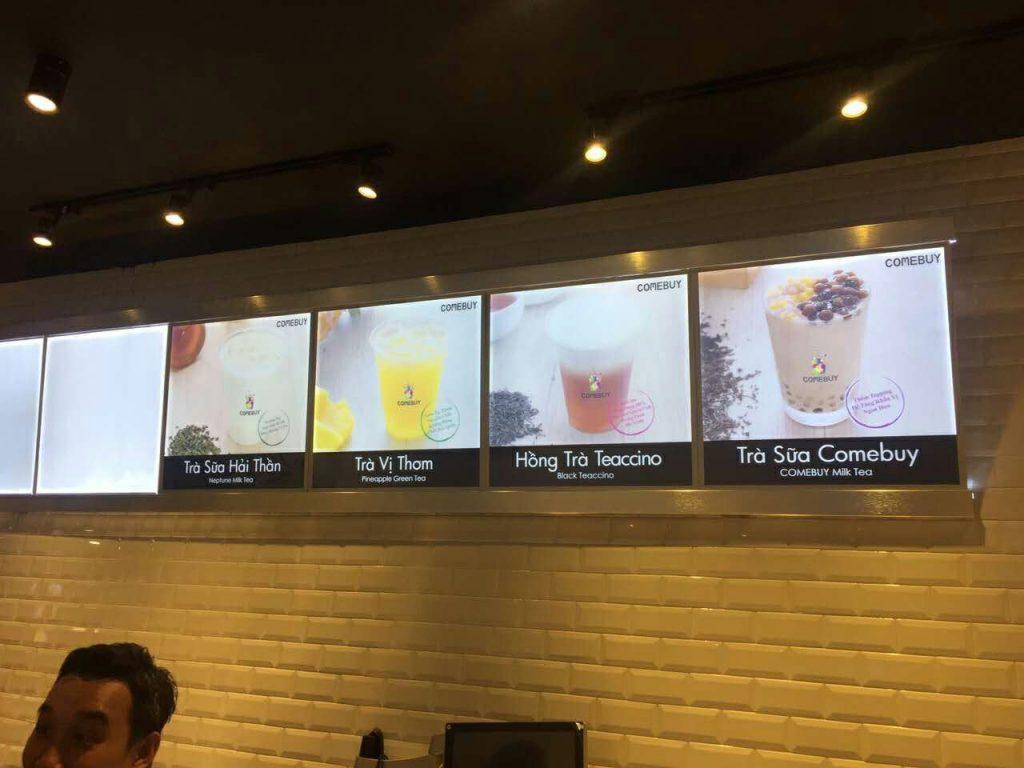 hộp đèn quảng cáo led lightbox quán trà sữa