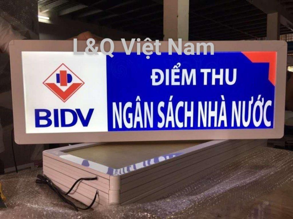 Hộp đèn quảng cáo điểm thu tiền ngân hàng BIDV
