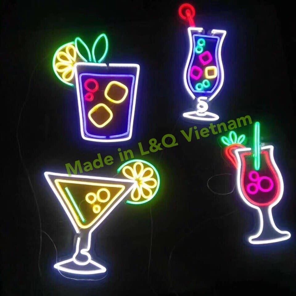 đèn neon sign trang trí đồ uống sắc màu