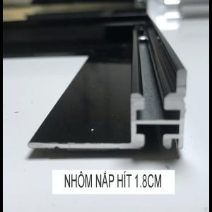 thanh nhôm hộp đèn nắp hít 1.8cm màu đen