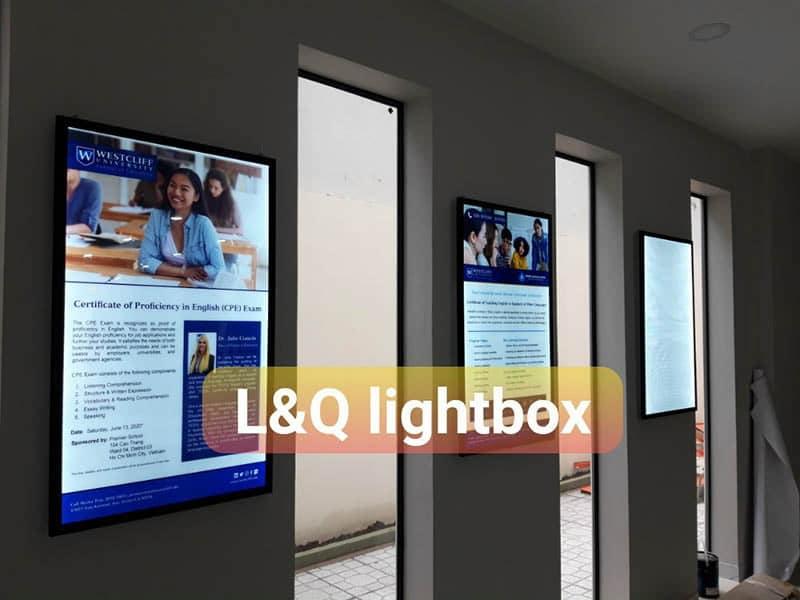 bảng hiệu hộp đèn quảng cáo tại trung tâm ngoại ngữ