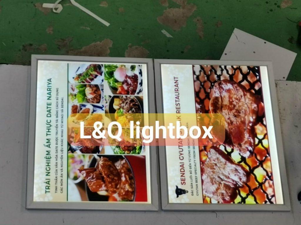 hộp đèn quảng cáo lightbox ẩm thực thịt bò