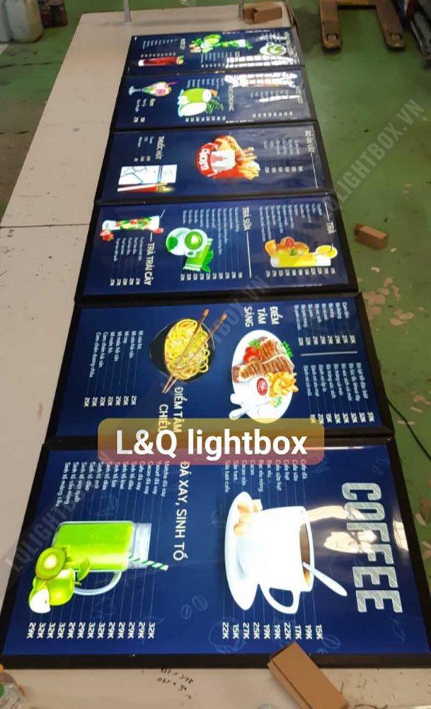 hộp đèn bảng hiệu menu quảng cáo cafe, đồ uống, đồ ăn vặt