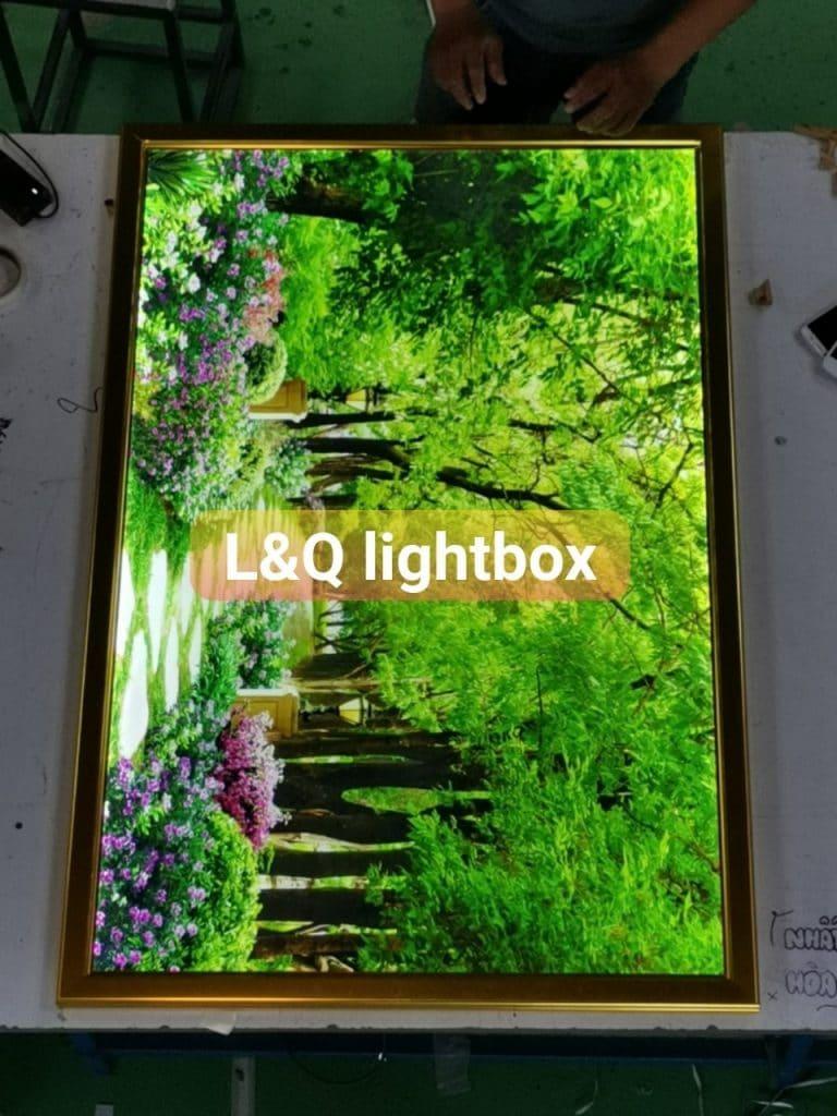 hộp đèn lightbox nấp bật trang trí phong cảnh