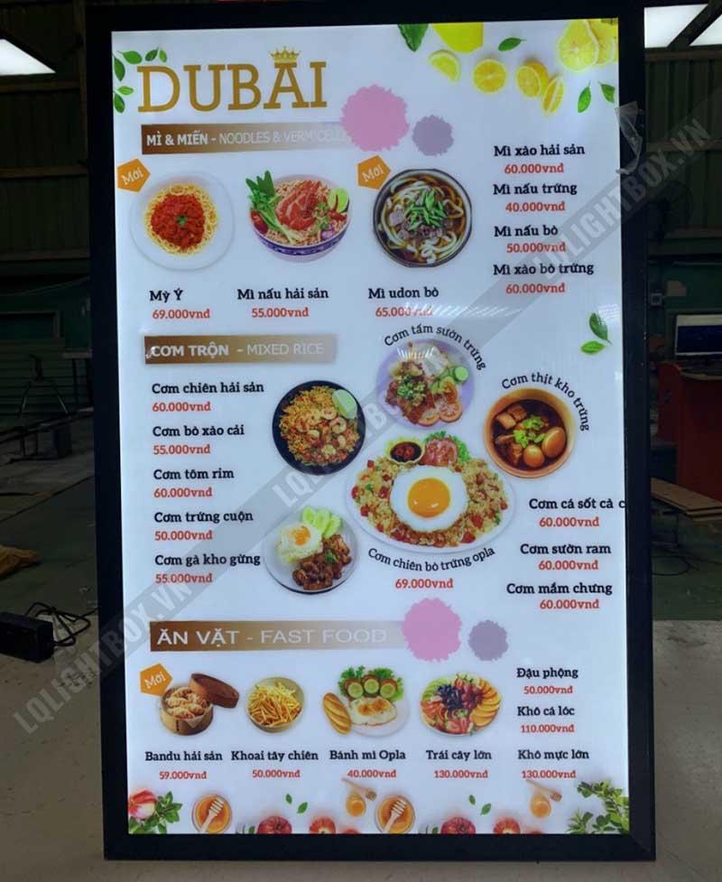 hộp đèn menu quảng cáo ẩm thực mỳ, miến và đồ ăn vặt