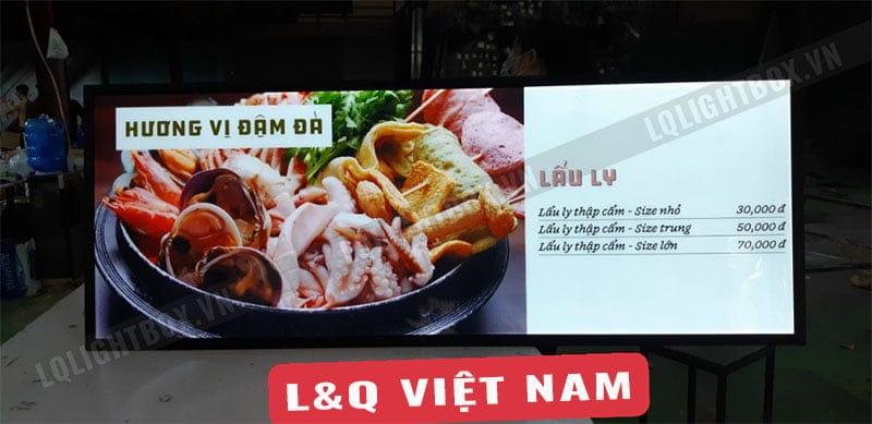 hộp đèn quảng cáo lẩu ly hải sản