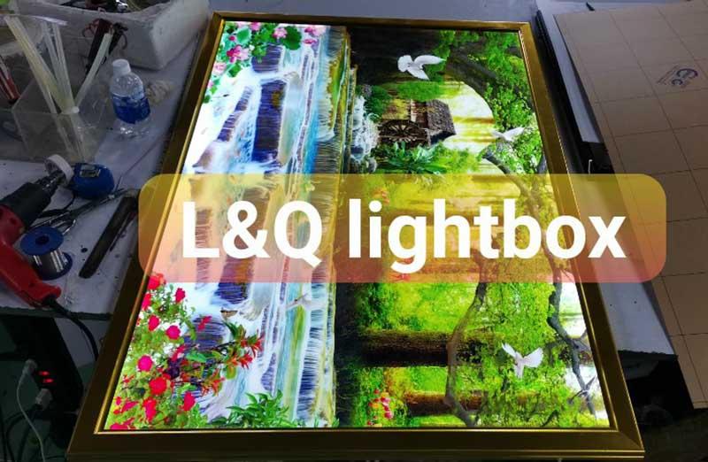 hộp đèn trang trí phong cảnh rừng nước