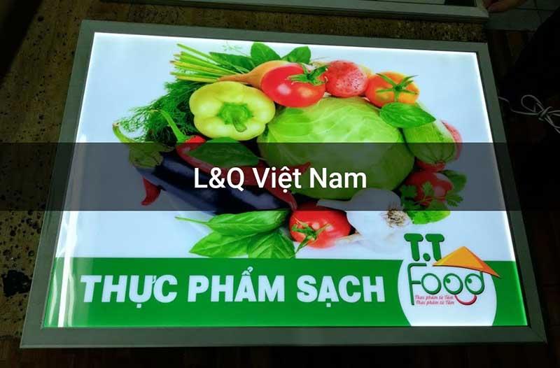 hộp đèn quảng cáo thực phẩm rau củ quả tươi sống đảm bảo vệ sinh