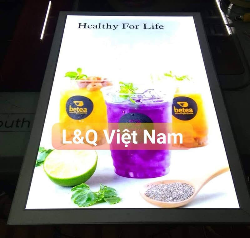 Hộp đèn nắp bật quảng cáo nước ép trái cây