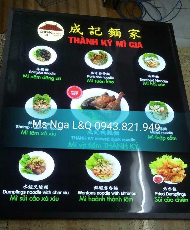 hộp đèn menu quảng cáo mì sợi