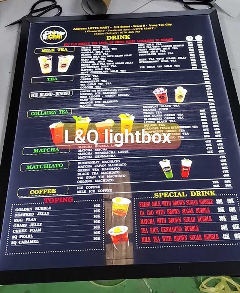 hộp đèn menu quảng cáo đồ uống cơ bản tại quán cafe